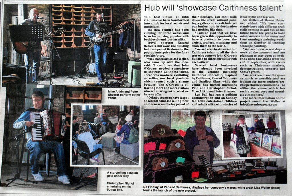Caithness Courier Article, The Last House Gallery